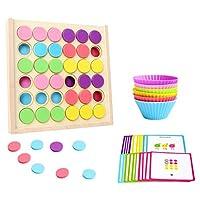 NUOBESTY ボードカード付き木製教育玩具カップ色選別パズルモンテッソーリ色認知幼児のおもちゃ