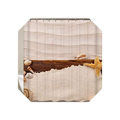 Set de cortinas de baño |Cortinas de ducha con ganchos Cortina de baño Tortuga Baño Cortina de ducha Decoración Playa Estrella de mar Decoración Cortina 3D o Mat-yl0366-OnlyW150xH180Cortina