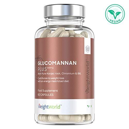 Glucomannano Capsule Plus 3000mg - Integratore Dimagrante Con Cromo e Vitamina B12 - Ricco di Fibre Vegetali Per La Perdita Di Peso - Ideale per Attacchi di Fame - 60 Capsule Vegan WeightWorld