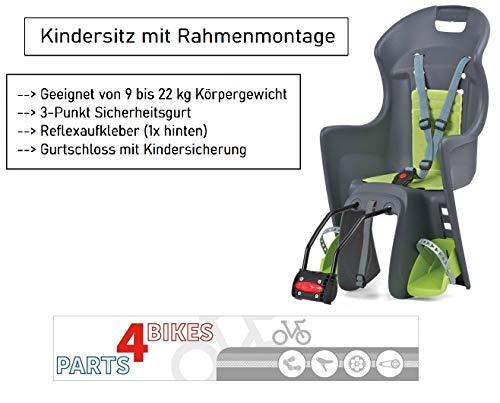 P4B | Fahrradkindersitz BOODIE FF | 3-Punkt-Gurtsystem mit Kindersicherung | Ergonomisch geformt für hohen Sitzkomfort | Fahrradsitz | Kindersitz
