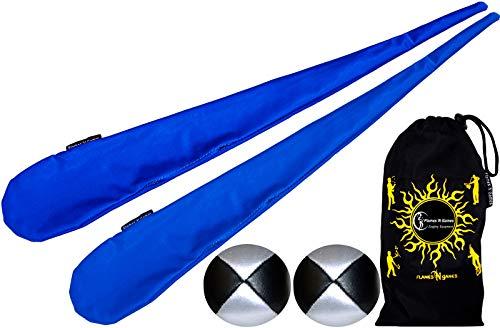 Flames N Games Pro Socken-Poi Set (Blau) Sock Poi (inkl. 2X Beanbags Bälle) + Reisetasche. Swinging Poi und Spinning Pois! Pois für Anfänger und Profis.