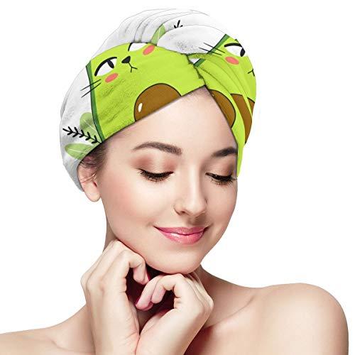 Impresión de vectores de dibujos animados con aguacate Toalla de pelo de gato Turbante Envoltura Anti Frizz Absorbente Toalla de ducha suave Toalla Secadora rápida Sombrero