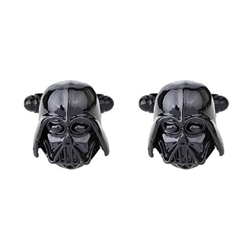 LUOSI Fibra Star Wars Gemelos Gemelos Negro Plateado de Cierre for los Hombres puño de la Camisa Botones