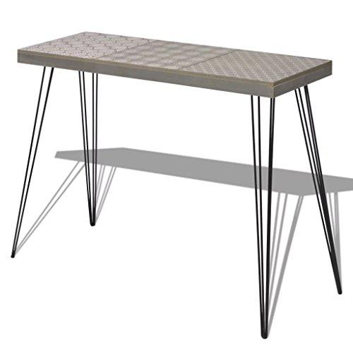 yorten Retro Konsolentisch Beistelltisch Telefontisch Sideboard Highboard MDF und Stahl Grau 90x30x71,5 cm(B x T x H)