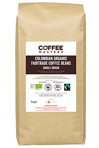 Grains de café colombien bio équitable Coffee Masters 1kg - Lauréat du Great Taste Award 2019