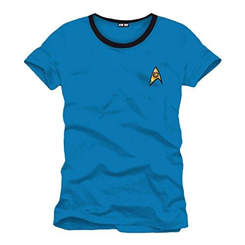 Star Trek Uniform Mr. Spock T-Shirt Raumschiff Welten der Galaxie Baumwolle blau Kostüm Oberteil bequemer Sitz - L