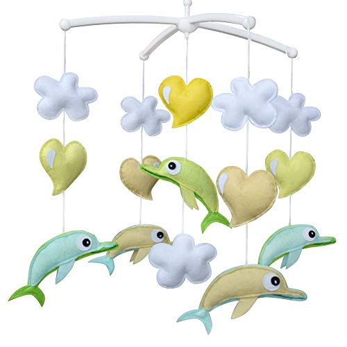 PANDA SUPERSTORE Green Dolphin Baby Crib Mobile Fatto a Mano Non Tessuto Musicale Mobile Culla Toy Nursery Room Decor
