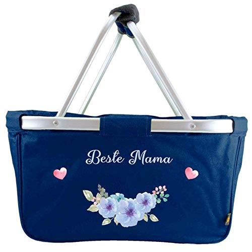 Mein Zwergenland faltbarer Einkaufskorb Beste Mama, Korb klappbar 28 L, Faltkorb mit Blumenmuster Marine Navy Blau