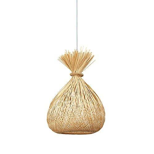 TTKDD Lámpara colgante de bambú, mimbre, retro, cono de bambú, lámpara colgante, accesorios decorativos, cono tejido a mano, candelabro E27, pasillo, restaurante, luz colgante, mesa de comedor, cafete