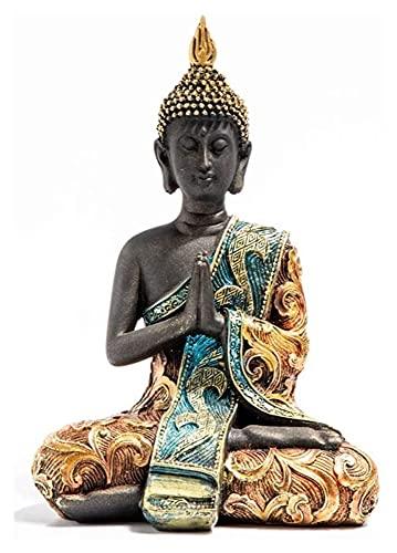 WQQLQX Statue Harz Skulptur Thailand Buddha Statue Handwerk Kleine Schmuckeingang Weinkabinett Südost asiatisch Stil Buddha Kunst Statuette Skulpturen (Color : B)