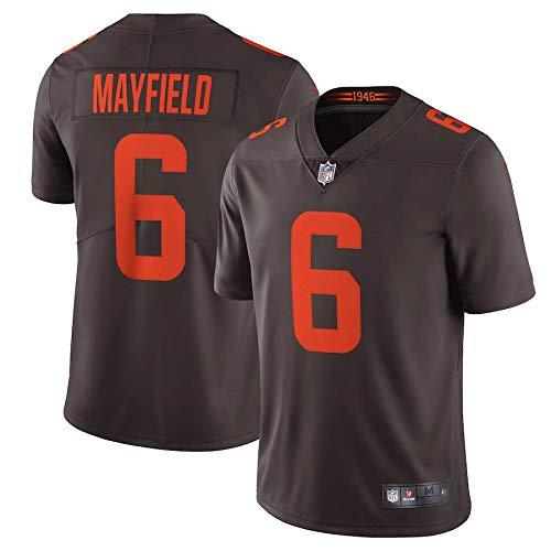 ZQN T-Shirt Jersey, Männer Fußball-T-Shirt Jersey, Cleveland Browns 6# Baker Mayfield Gestickte Fußball-Sport Jersey Short Sleeve Top,C,XL