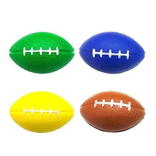 LIOOBO 4 STÜCKE PU Schäumen Kinder Vent Bälle Stress Bälle Rugby Bälle für Stressabbau Party Favors Ballspiele und Preise (zufällige Farbe)