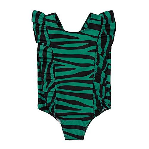 Toddler Little Girl Swimsuit Bikini Striped Ruffle Bathing Suit One Piece Beach Swimwear