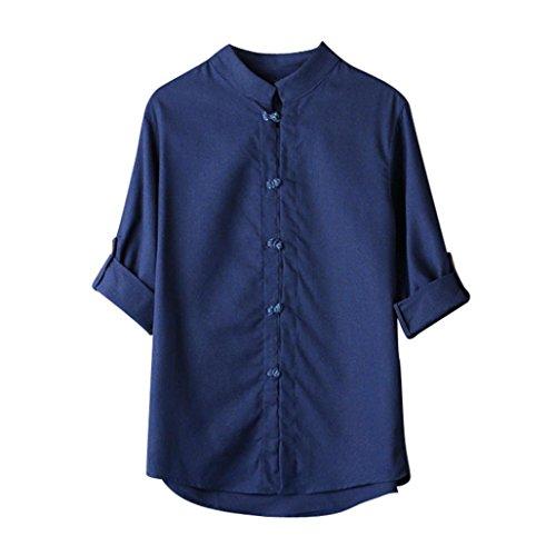 Zarupeng Herren Shirt Hemd Klassischen Chinesischen Stil Kung Fu Shirt Tops Tang Anzug Einfarbig 3/4 Ärmel Leinen Bluse Buddha Leinenhemd (3XL, Marine)