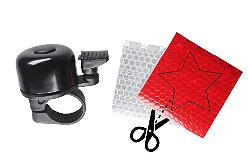Mini Fahrradklingel inkl. Reflektor-Set - ideal für Kinder und Erwachsene - klingelt laut und klar - Farbe schwarz - passend für alle Standard-Lenker - weitere Farben verfügbar - gefertigt aus Metall