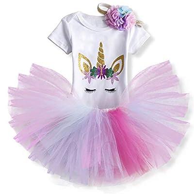 TTYAOVO Bebé Niña 1er cumpleaños 3pcs Conjuntos con Diadema de Unicornio y Mameluco y Faldas (10 Arco Iris, 1 año)