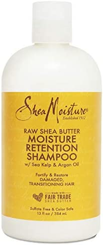 Sheamoisture Moisture Retention Shampoo for Dry, Damaged or Transitioning Hair Raw Shea Butter Shampoo to Hydrate Hair 13 oz