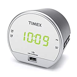 Timex Dual Digital Alarm Clock, USB Charger, Mirror Finish Green LED Display with Dimmer, Battery Backup for Bedrooms, Bedside, Desk, Shelf, Snooze Adjustable Sleep Timer Dual Alarm. (T1212)