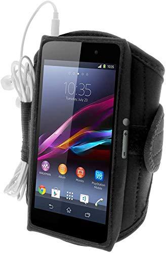 iGadgitz U2821 Sports Jogging Armband Fitness Oberarmtasche Kompatibel mit Sony Xperia Z2 D6503, Z3 D6603 und Z3+ E6553 - Schwarz