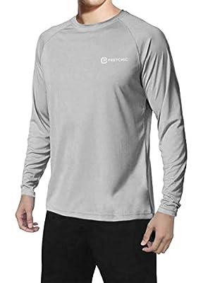 Pretchic Men's UPF 50+ UV Sun Protection Long Sleeve Outdoor T Shirt Grey XL