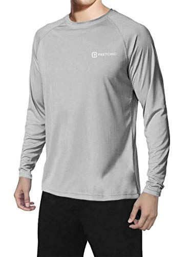 Pretchic Men's UPF 50+ UV Sun Protection Long Sleeve Outdoor T Shirt Grey XL