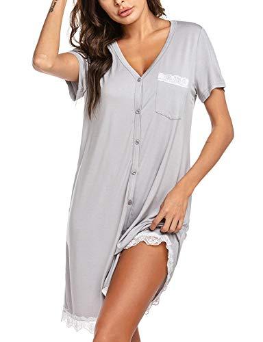 UNibelle Damen Gestreiftes Einfarbiges Nachthemd Kurzarm V-Ausschnitt Schlafshirt mit KnopfleisteHellgrau, S