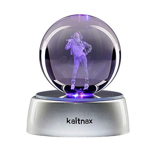 Kaitnax Kristallkugel mit 3D-Lasergravur, 50 mm, mit LED-Sockel Harley Quinn