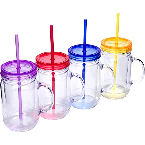 Zephyr Canyon Plastic Mason Jars with Handles, Lids and Straws   20 oz Double Insulated Tumbler with Straw   4 Pack Set of 4   Wide Mouth Mason Jar Mugs   Cups for Kids and Adults…