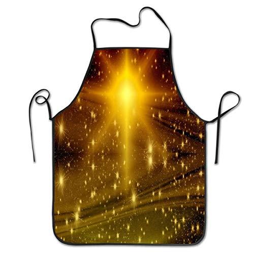 Mesllings Delantal de Navidad con diseño de estrella de Adviento y cielo estrellado personalizado, profesional, duradero, unisex, apto para hornear en cocina