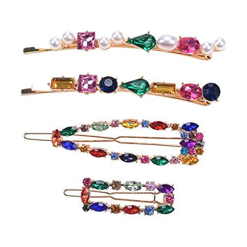 4 Stück Set Farbe Strass Haarspange Vergoldet Haarspangen Frauen Elegant Hairgrip Mode Haarklammer Clips