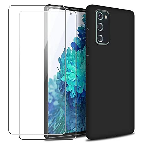 Reshias Funda para Samsung Galaxy S20 FE con Dos Cristal Templado Protector de Pantalla, Negro Suave Líquido Silicona Protectora Carcasa para Samsung Galaxy S20 FE 4G / 5G 6.5''