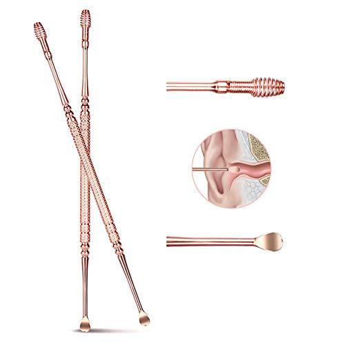 Double-Ended Ear Wax Removal Cleaner Roestvrijstalen Ear Pick Spoon Ear Care, Elastische Massage Spoon Head, 3st