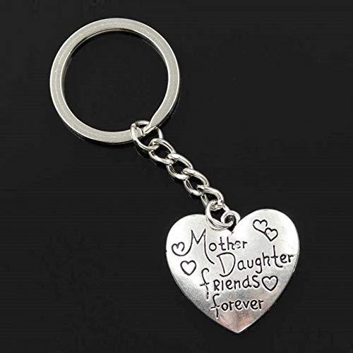 N/ A ZHTTCD mode mannen 30mm sleutelhanger DIY metalen ketting vintage moeder dochter vrienden voor altijd 28x30mm zilveren hanger Gift