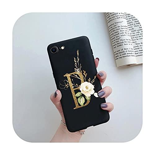 Para iPhone SE 2020 caso negro mate lindo letras silicona cubierta teléfono caso para iPhone SE 2 2020 SE2 SE2020 Carcasas 4.7 pulgadas cubierta trasera negro B-para iPhone SE 2020