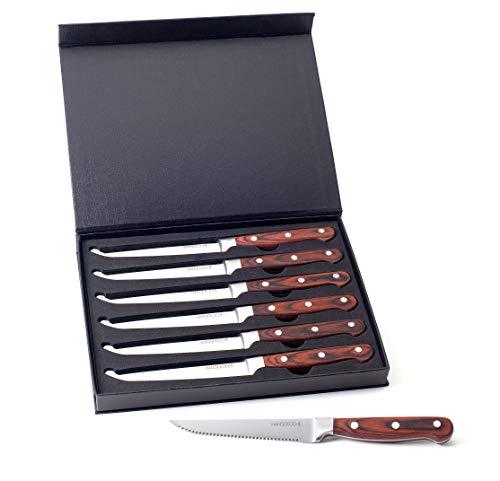 Hanseküche Steakmesser Set – 6X Hochwertige Steakmesser mit Holzgriff – Edles Besteck Set aus rostfreiem Spezialklingenstahl mit Wellenschliff und Geschenkbox