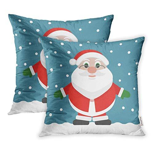okstore1988 Juego de 1 funda de cojín decorativa con diseño de Papá Noel, diseño de la barba roja, diseño de Papá Noel, dibujos animados, Navidad, día festivo, colorida celebración de 45,7 x 45,7 cm
