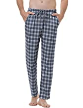 Aiboria Pantalones de Pijama Hombre Pantalón Algodón Pijama de Cuadros Largos Pantalones de Casa para Hombre Pijama Suelto de Hombre