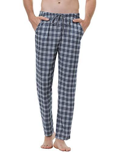 Aiboria Pantalones de Pijama Hombre Pantalón Algodón Pijama de Cuadros Largos Pantalones de Casa...