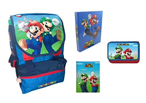 Generico Zaino super Mario+ astuccio 3 zip+Diario+Raccoglitore super Mario