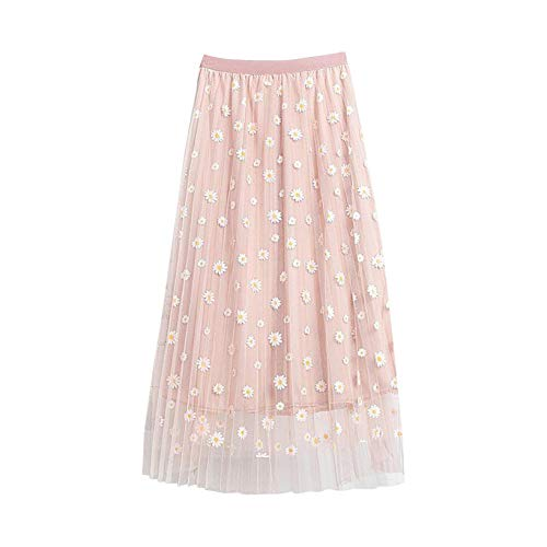 OutTop Long Skirts for Women Swing Floral Print Tulle Skirt Elastic Waist Loose Elegant Pleated Maxi Skirt Dresses (X-Pink, L)