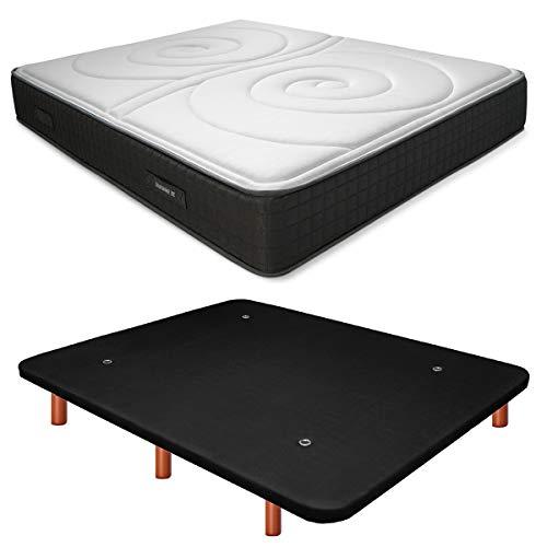 Duérmete Online Base Tapizada 3D Reforzada Anti Ruido + Colchón Viscoelástico Duo Reversible | Patas de Madera Color Cerezo, Negro, 90x190