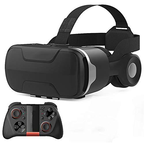 Bias&Belief Gafas VR con Gamepad,Cascos de Realidad Virtual para Teléfono Móvil de 4,7 A 6,0 Pulgadas,Botón Multifunción,Disipación de Calor y Ventilación,Experiencia Inmersiva,C