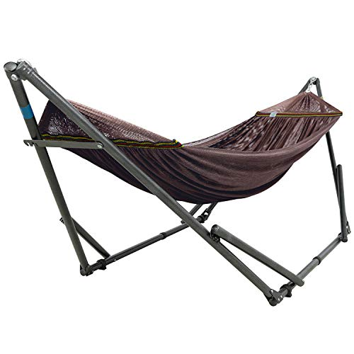 Tranquillo XZ03 Adjustable Foldable Polyester Net and Carry Bag Hammock Stands, Double, Brown
