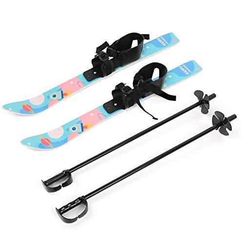 Odoland Ski-Set Kinderski All Mountain Ski Allmountain Rocker für 4 Jahre und jünger, Schneeflocke, Bequem Sicher Perfekt für die Schuhen 15,5-20,5 cm Hellblau