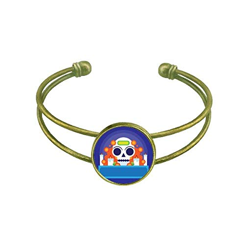 DIYthinker Mexico Candy Skeleton Day of Dead Bracelet Bangle Retro Open Cuff Jewelry