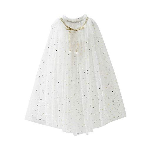 Fenical Kinder Cape Umhang Prinzessin Cosplay Kostüm für Mädchen (Weiß), Weiß, S