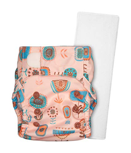 Justbumm Newborn Size Cover Diaper with 1 Organic Cotton Prefold – Economical & Reusable Cloth Diaper for 2.5-7 kg Babies (Bloom), Peach