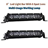 Par LED Light Bar 8' 60W 6000LM COB LED Bar Antivaho Ampolla Barra de LED de trabajo 4x4 Lente LED...