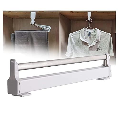 LYLFF Rack de Secado de extracción de 30CM-60CMCLOSET / Pantalón Pantalón, Espacio Ahorro, Rack de Secado de Vestuario Ampliable, Rack de Almacenamiento en el hogar, Blanco + Acero Inoxidable