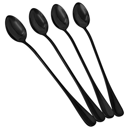 4 pcs Long Handle Iced Tea Spoon Coffee Spoon Ice Cream Spoon Stainless Steel Cocktail Stirring Spoons for Mixing Cocktail Stirring Tea Coffee Milkshake Cold Drink Black 76in